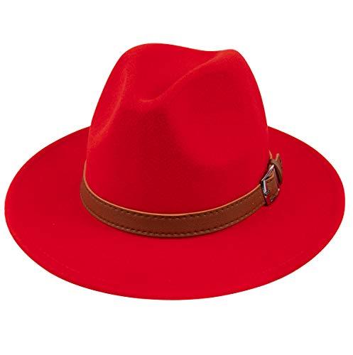 Lanzom Womens Classic Wide Brim Floppy Panama Hat Belt Buckle Wool Fedora Hat (One Size, Z Belt-Red)