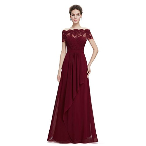 Vimans Elegant Long Off Shoulder Beaded Lace Prom Evening Chiffon Dresses