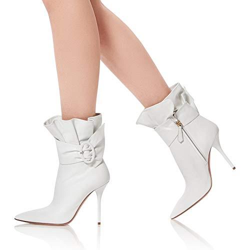 Frauen Hochzeit Absätze Stilett Spitz Leder Weiß Hoch Party Kante Hacke QQBoots Stiefel Schuhe Knöchel Falten Abend UndWvqAq