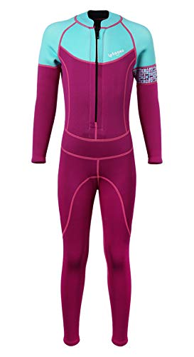 - SABOLAY Kids Long Sleeve Wetsuit Thermal Warm Full Suit One Piece Swimsuit Surfing Diving Suit Swimwear Rosy XL
