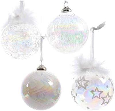 Juego de 12 bolas de Navidad de 8 cm de cristal (iridiscentes – blanco – plumas): Amazon.es: Hogar