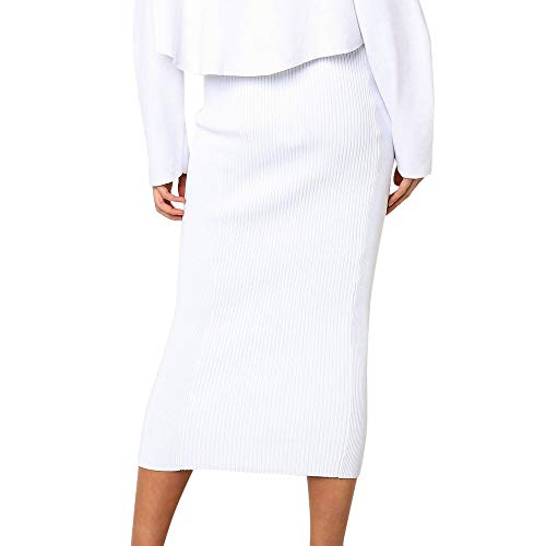 (Henwerd Women's Fashion Solid High-Waist Skirt Polyester Mid-Calf Casual Slim Straight Skirt (White, M))