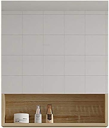 壁掛け式バスルームミラーキャビネット身長:75cm電子デフォグLEDライト多層ソリッドウッドボード浴室ミラーキャビネット