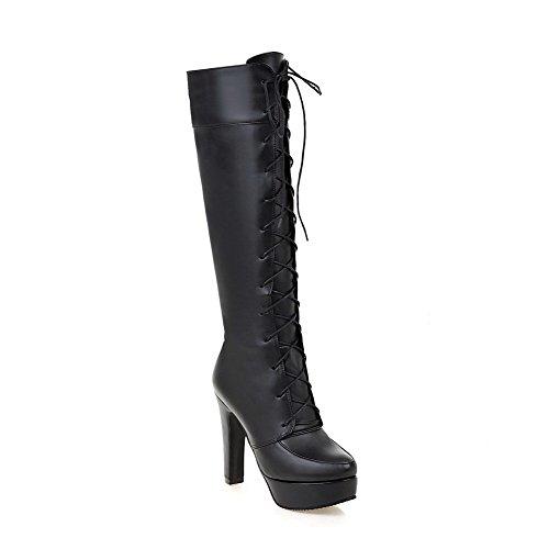 AgooLar Damen Hoch-Spitze Schnüren Weiches Material Hoher Absatz Rund Zehe Stiefel, Schwarz, 35