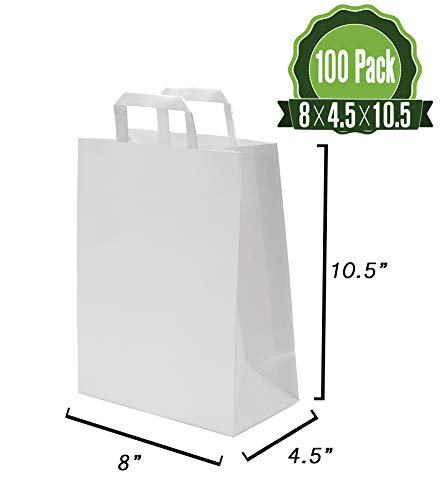 White Kraft Paper Gift Bags Bulk with Flat Handles 100Pc [ Ideal for Shopping, Packaging, Retail, Party, Craft, Gifts, Wedding, Recycled, Business, Goody and Merchandise Bag]