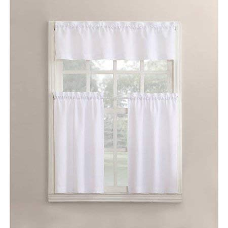 Mainstay Solid 3-Piece Kitchen Curtain Tier Valance Set,54x36,White