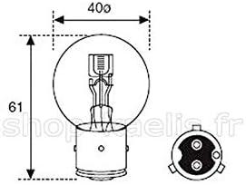 Ampoule jaune feu avant gros mod/èle BA21D 6V 35//35W