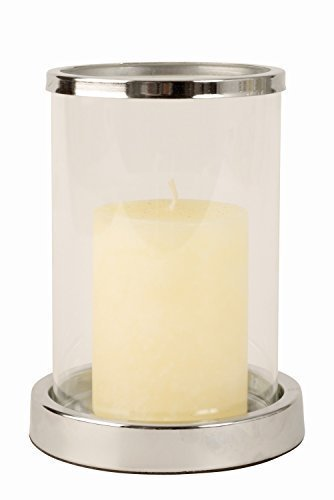 Moderno Soporte de vela Candelero de Acero y Cristal en plata Altura 16 cm Mel O Design