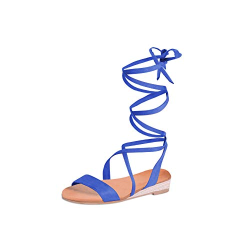 DREAM PAIRS Women's Formosa_3 Royal Blue Low Platform Wedges Mid Calf Tie Up Sandals Size 6.5 B(M) - Calf Mid Platforms