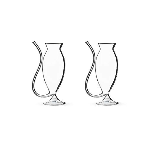 Footed Wine Cooler (Pipe Shaped Hand Blown Cocktail Glass - 12 oz - Set of 2)