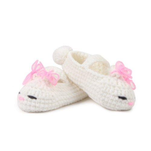 Smile YKK Baby Krabbelschuhe Gestrickte Schuhe flauschige Länge 11 cm Panda Blau Gesicht Weiss P