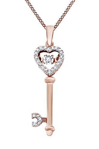 White Natural Dancing Diamonds Key Pendant Necklace in 14k Rose Gold Over Sterling Silver (0.05 Ct) 0.05 Ct Diamond Key