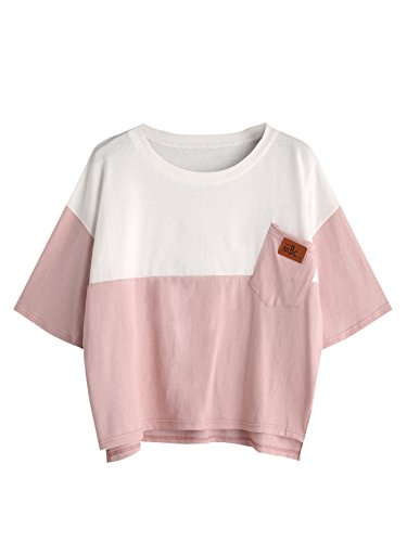 (SweatyRocks Women's Color Block Half Sleeve High Low Casual Loose T-shirt Tops (M, Pink_White))