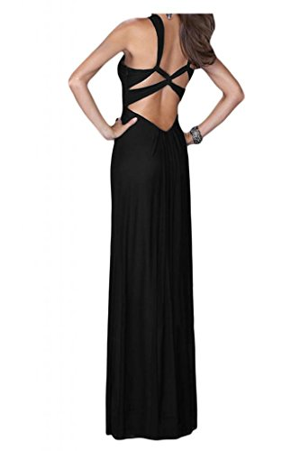 Toscana novia schlicht Imperio rueckenfrei vestidos de noche largos de la gasa de dama de honor vestidos de fiesta del partido negro