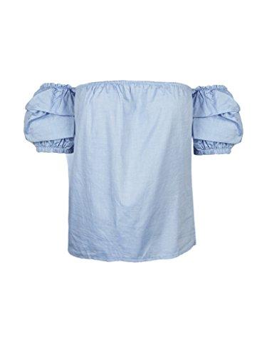 Women's Off The Shoulder Ruffle Blouse Tops Shirt, Large, Blue - Ruffle Off Shoulder