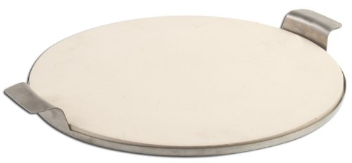 Pizzacraft PC0004 Round Ceramic Pizza Stone with Solid Stainless Frame, 15-Inch