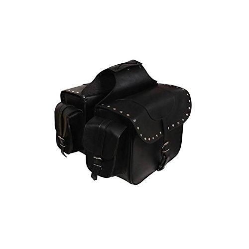Alforjas moto custom de cuero sintetico Color negro SD-9194