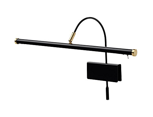 "Cocoweb 19"" Grand Piano Lamp - Adjustable, Black with Brass Accents, LED Clip-on with Dimmer - GPLED19D"