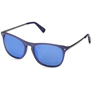 Kenneth Cole New York KC7178 Polarized Rectangular Sunglasses, Matte Blue, 54 mm