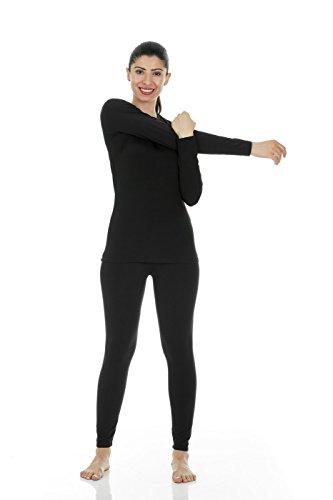 b4784a7f4cc6 Thermajane Women's Ultra Soft Thermal Underwear Long Johns Set with Fleece  Lined (Medium, Black