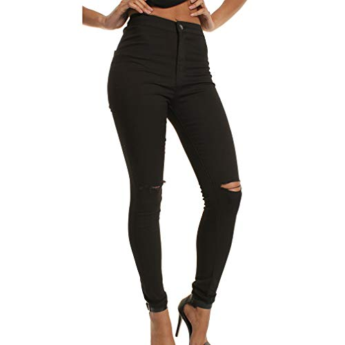 A Alta Per Moda Nero 2xl Buco Matita Strappati Skinny Sottili Vintage Jeans Alla Pantaloni Vita Donna Denim M BwWEHBqd