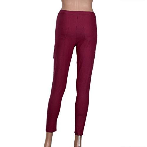 Stretch Mujeres Skinny De Vaqueros Fit Sólido Las Alta Slim Informal Acogedor Lápiz Mezclilla Color Rot Casuales Cintura Pantalones Botón wBfIqB