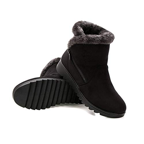 Auf Pull Gefüttert Keil Winter Plattform Stiefel Stiefeletten Noir Frauen Warm Casual junkai Warme Schuhe Schneeschuhe RS7BqwP