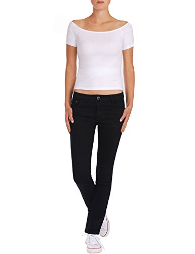 Fraternel Straight Pantaloni Jeans Nero Donna RwqRHFa