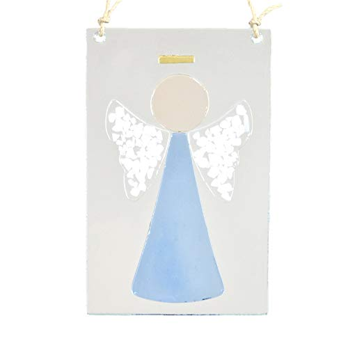 J Devlin Orn 236-2 Blue Fused Glass Angel Ornament Window Sun - Ornament Stained Angel Glass