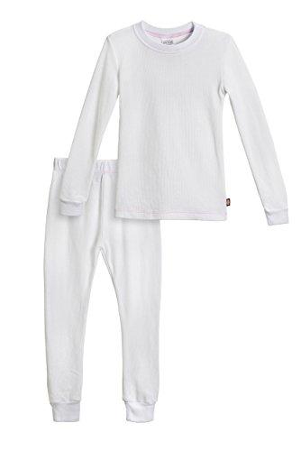 City Threads Little Girls Thermal Underwear Set Perfect for Sensitive Skin SPD Sensory Friendly, White- 2T