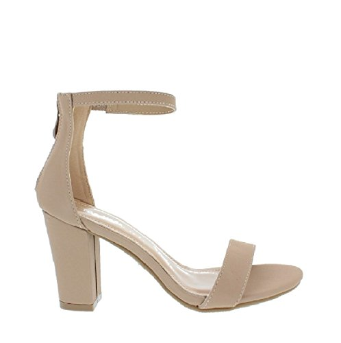 LOV Shoes Women's Ankle Strap Chunky Heel Sandal with Zipper Closure (Tan, 6.5 B(M) US)