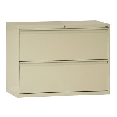 "Sandusky Lee LF8F422-07 800 Series 2 Drawer Lateral File Cabinet, 19.25"" Depth x 28.375"" Height x 42"" Width, Putty"