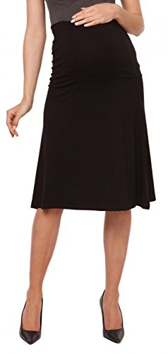 Maternity knee length skater skirt stretch waistband - 983c (Black, US 10/12, XL) (Maternity Stretch Skirt)