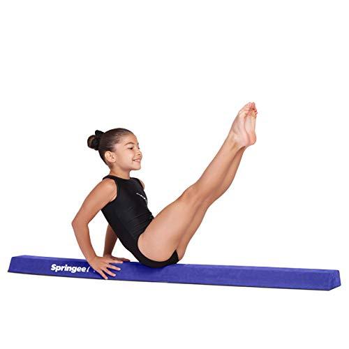 Springee 5ft Balance Beam - Extra Firm - Suede Sectional Gymnastics Beam for Home - Blue