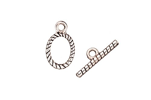 Twisted rope oval antique silver-plated toggle clasp set 12.4/20x23mm sold per 6pcs per pack ()