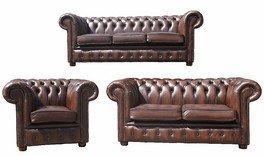 Designer Sofas4u Chesterfield 3 + 2 + 1 Funda de Piel sofá ...