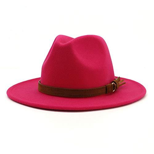 Lisianthus Men & Women Vintage Wide Brim Fedora Hat with Belt Buckle (A-Rose, Men L; Hat Circumference: 59-60cm)