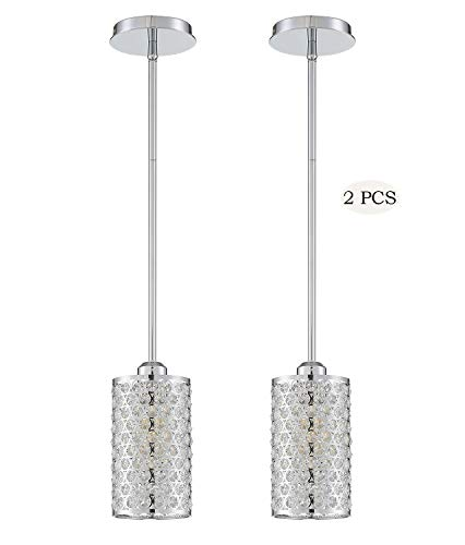 Seenming Lighting 1 Light Crystal Pendant Chrome Finish(Set of 2),Modern and Concise Pendant Fixture with Polyhedral…