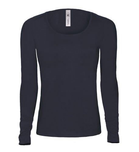 Pink Classic langarm Damen T-Shirt mit ovalem Ausschnitt, Farbe:Navy;Größe:S