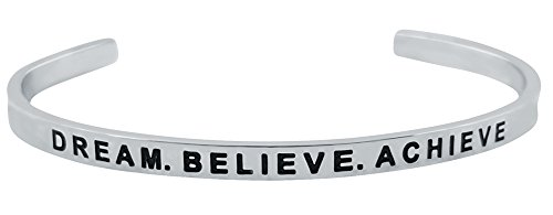 Inspirational ''Dream. Believe. Achieve.'' Motivational Cuff Bracelet for Good Karma and Luck (Silver Tone)