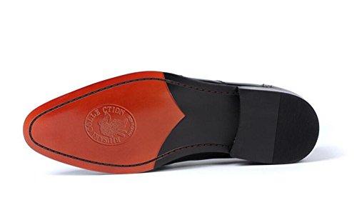 Zapatos vestido Slip talla negro On a genuino 46 hombre Business boda mocasines cuero de borla marrón Brogue 38 de formal black Smart rwqC0r4
