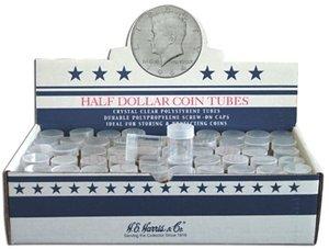 Cent Coin Tubes - 100 Round Half Dollar Coin Tubes Round Half Dollar New Crystal Clear Polystyrene - Box 100