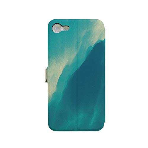 Phone case Compatible with iPhone 7 iPhone 8 3D Printed PU Skin Cover Protection Sleeve,Wave Image with Ombre Seem Colored Contemporary,Premium PU Leather Magnetic Flip Folio Protective iPhone case