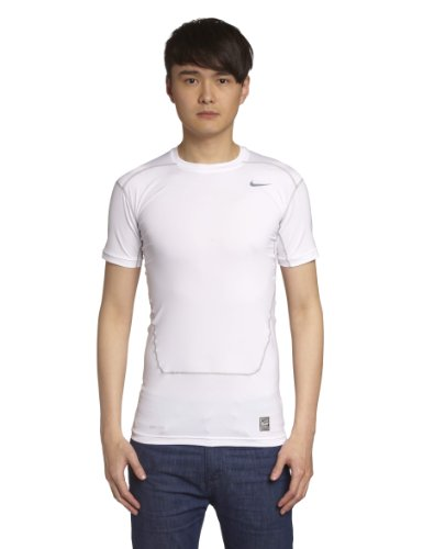 Nike Mens Core 2.0 Compression Short Sleeve SS Top White/Cool Grey 449792-063 Size Small