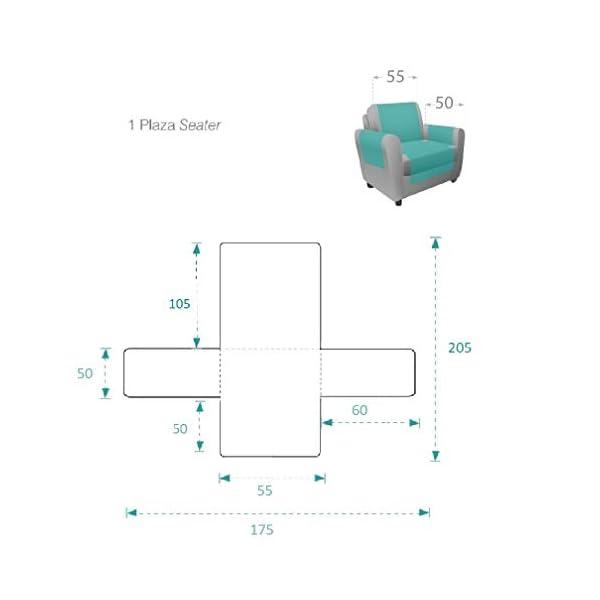 Textilhome – Housse de Canapé Protecteur Adele, Taille 1 Places/Relax. Housse Matelasse Réversible. Couleur Beige