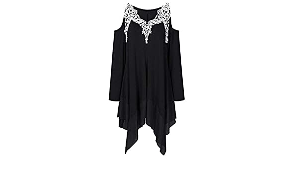 e51288d9e0b0 ◕‿◕ Toponly Women Long Sleeve Tops Lace Appliques Strapless Asymmetrical  T-Shirt at Amazon Women's Clothing store: