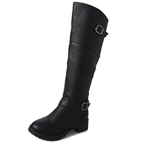 Women Shoes for Faux Martin Leather Morwind High Knee Black Boots Women Boots Buckle Ladies Xw4Z7q