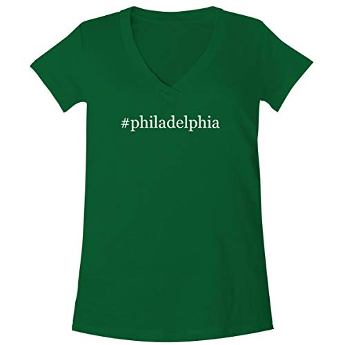 The Town Butler #Philadelphia - A Soft & Comfortable Women's V-Neck T-Shirt, Green, X-Large
