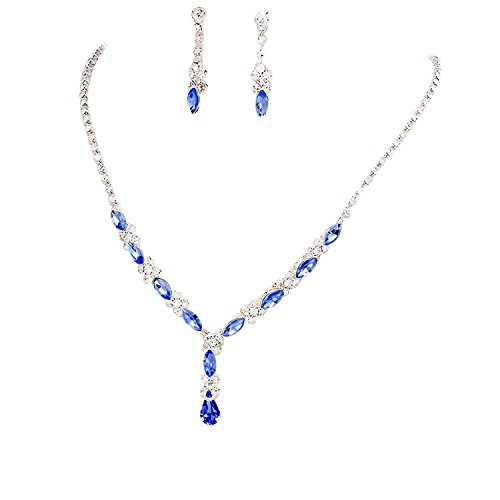 Fancy Elegant Jewelry Collection Beautiful Y Drop Party Lite Royal Blue Bridal Necklace Earring Crystal (Necklace Set Blue Royal)