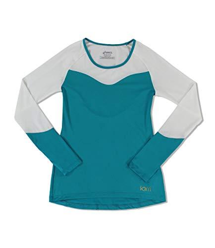 Asics KW2768 Women's Long Sleeve Training Shirt, Teal/White - XS